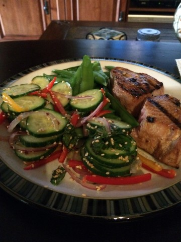 asian tuna and cucumber salad
